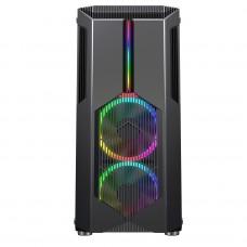 Gabinete Gamer Redragon Grindor, Mid Tower, RGB, Vidro Temperado, Black, ATX, Sem Fonte, Com 2 Fans, GC-616