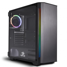 Gabinete Gamer Redragon Nosecone, Mid Tower, S-Fan, Vidro Temperado, Black, S-fonte