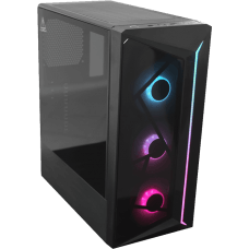 Gabinete Gamer One Power C07, Mid Tower, Com 3 Fans, Vidro Temperado, Black, S-fonte