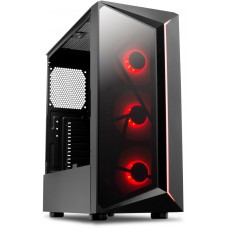 Gabinete Gamer One Power C07, Mid Tower, Com 3 Fans, Vidro Temperado, Black, S-fonte