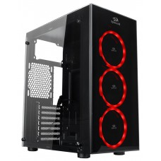 Gabinete Gamer Redragon Thundercracker, Mid Tower, Com 3 Fans RGB, Vidro Temperado, Black, S-Fonte, GC-605