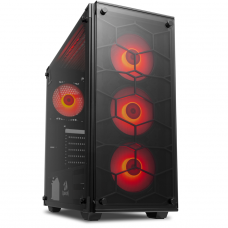 Gabinete Gamer Redragon Wheel Jack, Mid Tower, Vidro Temperado, Black, Sem fonte, Com 4 Fans Red