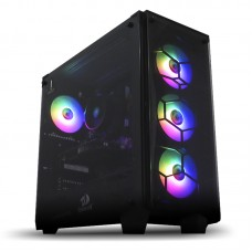 Gabinete Gamer Redragon Wheel Jack, Mid Tower, Com 4 Fans RGB, Vidro Temperado, Black, S-fonte