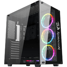 Gabinete Gamer Redragon Wideload, Mid Tower, Vidro Temperado, Black, GC-802-1, S/fonte, S/fan