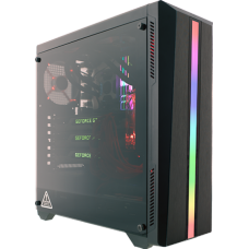 Gabinete Gamer Riotoro CR-100TG RGB, Mid Tower, Com 1 Fan, Vidro Temperado, Black, S-Fonte