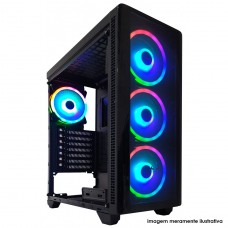 Gabinete Gamer Riotoro CR110TG, Mid Tower, Vidro Temperado, Black, Sem Fonte, Com 1 Fan