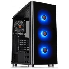 Gabinete Gamer Thermaltake V200, Mid Tower, S-Fan, Vidro temperado, Black, Com Fonte 500W, CA-3K8-50M1WZ-01