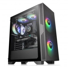 Gabinete Gamer Thermaltake Versa T25, Mid Tower, Vidro Temperado, Black, ATX, Sem Fonte, Com 1 Fan, CA-1R5-00M1WN-00