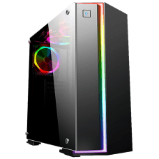 Gabinete Gamer K-mex Fox RGB, Mid Tower, Com 1 Fan, Vidro Temperado, Black, S-Fonte, CG-06RB
