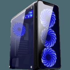 Gabinete Gamer K-mex Infinity II, Mid Tower, Com 3 Fans Blue, Lateral em Acrílico, Black, S-Fonte, CG-02G8
