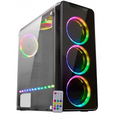 Gabinete Gamer K-mex Infinity IV, Mid Tower, Lateral Acrílico, Black, S-Fonte, CG-04G8
