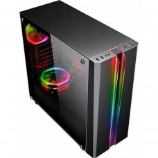 Gabinete Gamer K-mex Odyssey RGB, Mid Tower, Lateral de Acrílico, Black, S-Fonte, CG-04RD
