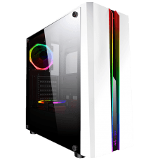 Gabinete Gamer K-mex Odyssey RGB, Mid Tower, Lateral de Acrílico, White, S-Fonte, CG-05RD