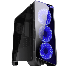 Gabinete Gamer K-mex Vamp, Mid Tower, Com 3 Fans Blue, Lateral de Acrílico, Black, S-Fonte, CG-04P9