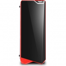 Gabinete Gamer K-mex Vamp, Mid Tower, Com 3 Fans Red, Lateral de Acrílico, Black. S-Fonte, CG-05P9