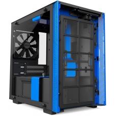 Gabinete Gamer NZXT H200, Mid Tower, Com 2 Fans, Vidro Temperado, Black-Blue, S-Fonte, CA-H200B-BL