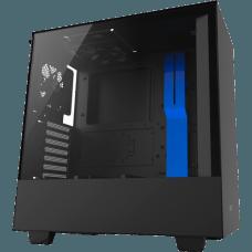 Gabinete Gamer NZXT H500, Mid Tower, Com 2 Fans, Vidro Temperado, Black-Blue, S-Fonte, CA-H500B-BL