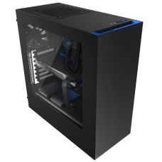 Gabinete Gamer NZXT S340, Mid Tower, Com 2 Fans, Vidro Temperado, Black-Blue, Sem Fonte, CA-S340MB-GB