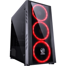 Gabinete Gamer PCyes Saturn, Mid Tower, Com 3 Fans Red, Lateral de Acrílico, Black, S-Fonte, SATPTVM3FCA