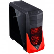 Gabinete Gamer PCyes VTI, Mid Tower, Com 3 Fans, Lateral em Acrílico, Black-Red, S-Fonte, VTIPTOVM3FCAF
