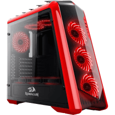 Gabinete Gamer Redragon Jetfire, Mid Tower, Com 3 Fans RGB, Vidro Temperado, Black-Red, S-Fonte, RD-GC-701