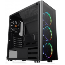 Gabinete Gamer Thermaltake V200, Mid Tower, Vidro temperado, Black, Sem Fonte, Com 1 Fan, CA-1K8-00M1WN-00