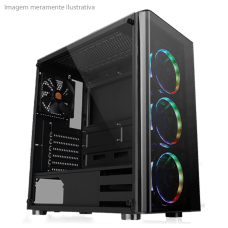 Gabinete Gamer Thermaltake V200, Mid Tower, Com 1 Fan, Vidro temperado, Black, S-Fonte, CA-1K8-00M1WN-00