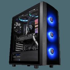 Gabinete Gamer Thermaltake Versa J25 RGB, Mid Tower, Vidro Temperado, Black, Sem Fonte, Com 4 Fans, CA-1L8-00M1WN-01