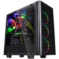 Gabinete Gamer Thermaltake View 21, Mid Tower, Com 1 Fan, Vidro Temperado, Black, S-Fonte, CA-1I3-00M1WN-04