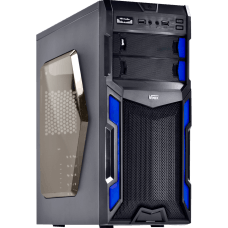 Gabinete Gamer Vinik VX Typhoon Window, Mid Tower, Black-Blue, S-Fonte