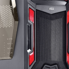 Gabinete Gamer Vinik VX Typhoon Window, Mid Tower, Black-Red, S-Fonte