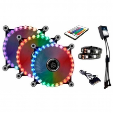 Kit Fan com 3 Unidades Alseye Gatling, RGB 120mm, Fita LED Rainbow, com Controlador, CRLS-300G