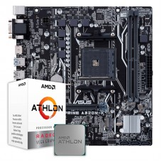 Kit Upgrade Placa Mãe Asus Prime A320M-K, AMD AM4 + Processador AMD Athlon 3000G 3.5GHz