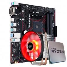 Kit Upgrade Placa Mãe Asus Prime B450M Gaming/BR AMD AM4 + Processador AMD Ryzen 7 2700 3.2GHz + Cooler DeepCool Gammaxx 300R