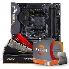 Kit Upgrade Placa Mãe Asus TUF Gaming X570-Plus AMD AM4 + Kit Processador AMD Ryzen 9 3900x 3.8ghz + Memória DDR4 16GB 2666MHz