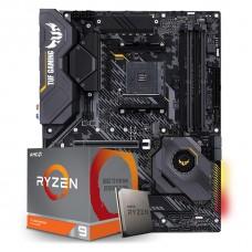 Kit Upgrade Placa Mãe Asus TUF Gaming X570-Plus AMD AM4 + Kit Processador AMD Ryzen 9 3900x 3.8ghz