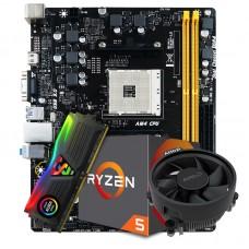Kit Upgrade Placa Mãe Biostar Racing B350M DDR4 AMD AM4 + Processador AMD Ryzen 5 2600 3.4GHz + Memória DDR4 8GB 3000MHz
