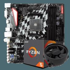Kit Upgrade Placa Mãe Biostar Racing B350GT3 DDR4 AMD AM4 + Processador AMD Ryzen 5 2600 3.4GHz