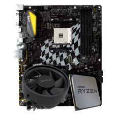 Kit Upgrade Placa Mãe Biostar B350GT5 DDR4 + Processador AMD Ryzen 5 2600X 3.6GHz