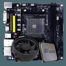 Kit Upgrade Placa Mãe Biostar Racing X370GTN AMD AM4 DDR4 + Processador AMD Ryzen 5 2600X 3.6GHz