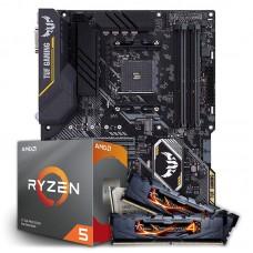 Kit Upgrade Placa Mãe Asus TUF B450-PRO GAMING, AMD AM4 + Processador AMD Ryzen 5 3600 3.6GHz + Memória DDR4 G.Skill Ripjaws 4 16GB (2x8GB) 3000MHz