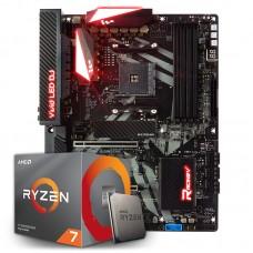 Kit Upgrade Placa Mãe Biostar Racing X470GT8, AMD AM4 + Processador AMD Ryzen 7 3800x 3.9GHz