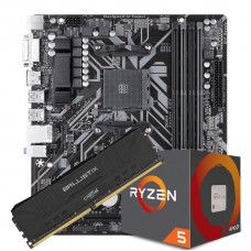 Kit Upgrade Placa Mãe Gigabyte B450M DS3H DDR4 + Processador AMD Ryzen 5 2600 3.4GHZ + Memória DDR4 8GB 3000MHZ