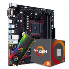 Kit Upgrade Placa Mãe Asus Prime B450M Gaming/BR AMD AM4 + Processador AMD Ryzen 5 2600 3.4GHZ + Memória DDR4 8GB 3000MHZ
