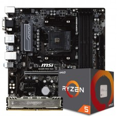 Kit Upgrade Placa Mãe MSI B450M PRO-VDH DDR4 AM4 + PROCESSADOR AMD RYZEN 5 2600 3.4GHZ + Memória DDR4 8GB 2666MHZ