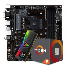 Kit Upgrade Placa Mãe MSI B450M PRO-VDH DDR4 AM4 + PROCESSADOR AMD RYZEN 5 2600 3.4GHZ + Memória DDR4 8GB 3200MHZ