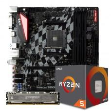 Kit Upgrade Placa Mãe Biostar Racing B350GT3 DDR4 AMD AM4 + Processador AMD Ryzen 5 2600 3.4GHz + Memória DDR4 8GB 2666MHZ
