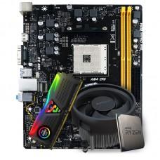 Kit Upgrade Placa Mãe Biostar Racing B350M DDR4 AMD AM4 + Processador AMD Ryzen 5 3600 3.6GHz + Memória DDR4 8GB 3000MHz