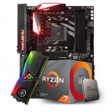 Kit Upgrade Placa Mãe Biostar Racing X470GT8, AMD AM4 + Processador AMD Ryzen 7 3700x 3.6GHz + Memória DDR4 8GB 3000MHz