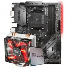 Kit Upgrade Placa Mãe MSI B450 Tomahawk AMD AM4 + Processador AMD Ryzen 7 3800x 3.9GHz + Cooler DeepCool Gammaxx 400